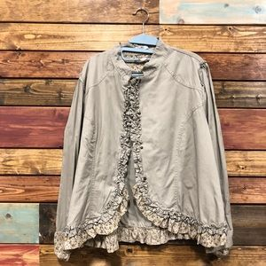 Khaki Jacket with Floral Trim
